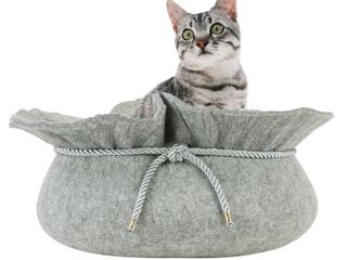 Front Pet Felt Cat Bed  Grey