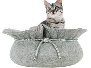 Front Pet Felt Cat Bed  Grey