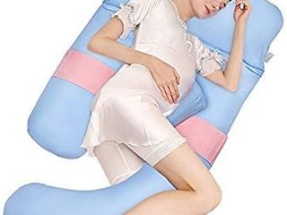 joybest Full Body Pregnancy Pillow  Maternity Pillow Back Support U Shaped Body Nursing Pillow Detachable Comes with Removable Cover  Blue Pink