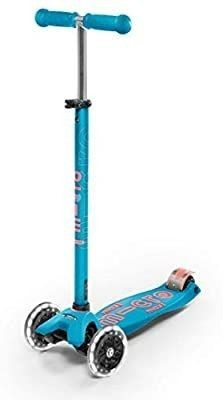 Micro Maxi Deluxe led Kick Scooter Adjustable T bar 3 wheels Kid s Ride On Aqua
