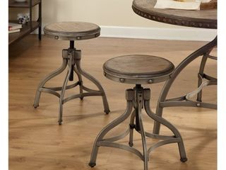 Adjustable Height Stool With Nailhead (Set Of 2) - Pewter Silver