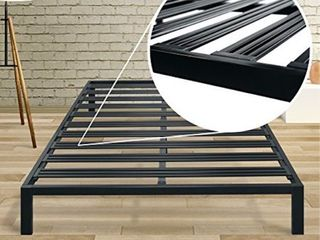 Best Price Mattress Twin XL Bed Frame - 14 Inch Metal Platform Beds [Model C] w/ Steel Slat Support (No Box Spring Needed), Black