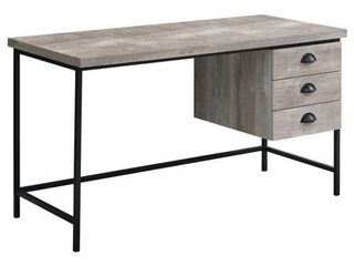 "COMPUTER DESK - 55""L / TAUPE RECLAIMED WOOD / BLACK METAL"