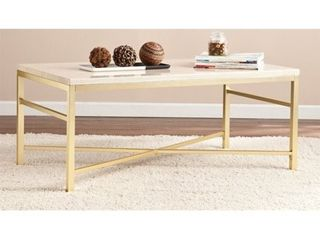 Southern Enterprises Orinda Metal Coffee Table in Travertine