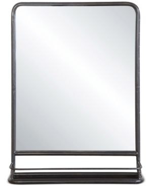 Large Metal Framed Mirror with Shelf - Black