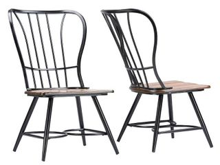Set of 2 Longford Metal Vintage Industrial Dining Chair Black - Baxton Studio