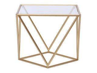 Abbyson Braque Gold Geometric End Table