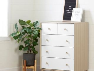Soft Elm/Pure White Yodi 5 Drawer Chest