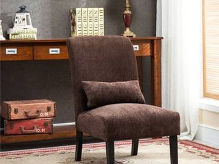 Roundhill Pisano Fabric Armless Contemporary Accent Chair with Kidney Pillow, Multiple Colors Available