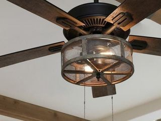 "Carbon Loft Shettler 5-blade Woodgrain Caged Farmhouse LED Ceiling Fan - 52""L x 52""W x 19""H"