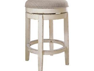 Signature Design by Ashley Realyn Chipped White Upholstered Swivel Stool