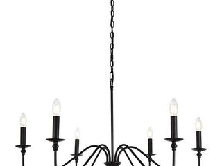"Elegant Lighting Rohan Collection 6 Light Chandelier in Bronze Finish - 36""D x 19""H"