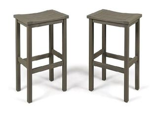 "Christopher Knight Home Caribbean Outdoor 30"" Acacia Wood Barstools, 2-Pcs Set, Grey Finish"