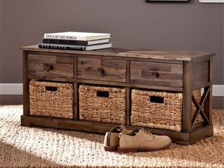 Southern Enterprises Jayton Storage Bench in Antique Brown