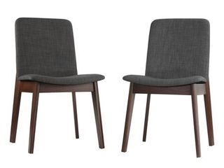 Cortesi Home Bjorn Dining Chair in Charcoal Fabric, Walnut Finish (Set of 2)