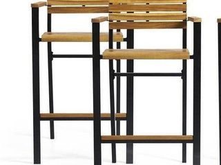 "Brampton Modern Industrial Acacia Wood Barstool (Set of 2) by Christopher Knight Home - 23.00"" W x 21.25"" D x 43.00"" H"