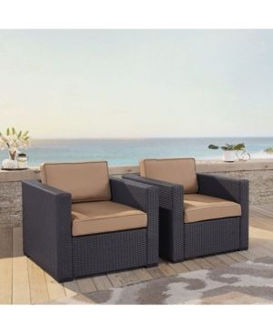 Biscayne Mocha Wicker Outdoor Seating Chairs (Set of 2)