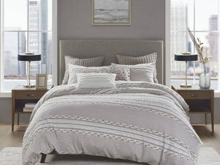 King/California King Lennon Organic Cotton Jacquard Duvet Cover Set Taupe