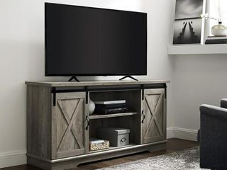 "58"" Sliding Barn Door TV Console - Grey Wash"