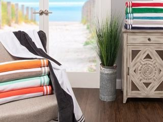 Niantic 100% Cotton Oversize Cabana Terry Beach Towel by Impressions SET OF 4