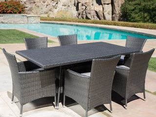 Malta Outdoor Wicker Dining Table by Christopher Knight Home