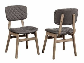 Hillsdale Modern Diamond Stitch Upholstered Dining Chairs, Set of 2, Weathered Gray