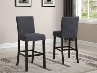 Roundhill Biony Gray Fabric Bar Stools with Nailhead Trim, Set of 2