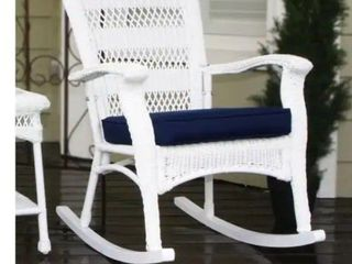 Avoca Coastal White Resin Wicker Outdoor Plantation Rocking Chair by Havenside Home