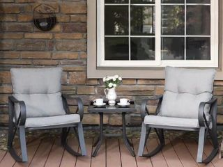 COSIEST Outdoor 3 Piece Bistro Set Rocking Chairs w Warm Gray Cushions