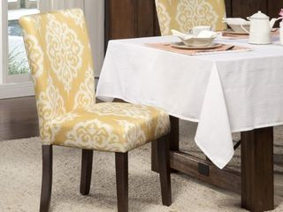 HomePop Yellow and Cream Damask Parson Chairs (Set of 2)