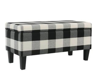 Porch & Den Minna Large Decorative Storage Bench - Black Plaid