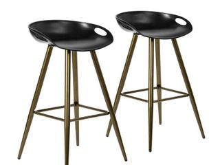 FurnitureR FIYAN PP BK & BRONZE 2PCS Bar Stool