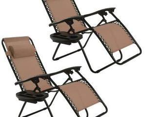 2 Pack Zero Gravity Chair Adjustable Recliner Lounge with Cup Holder - Brown