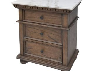 Sasha Cognac Marble Top 3-Drawer Nightstand by Greyson Living
