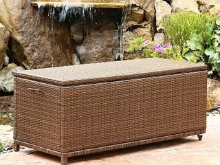 Abbyson Living® Palermo Outdoor Wicker Storage Ottoman in Brown
