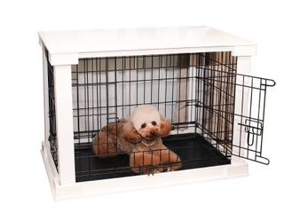 Pet Cage with Crate Cover- white- Medium, Auburn