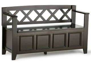 Simpli Home Amherst Solid Wood Entryway Lift-Top Storage Bench in Hickory Brown