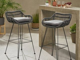 Dale Wicker Barstools with Cushions (Set of 2) by Christopher Knight Home