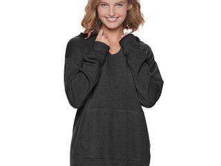 Juniors' SO Fleece Tunic Hoodie, Girl's, Size: Large, Black