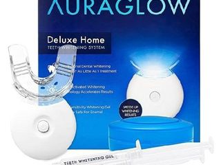 AuraGlow Teeth Whitening Kit  lED light  35  Carbamide Peroxide   2  5ml Gel Syringes  Tray and Case 1 of the Syringes has been Used