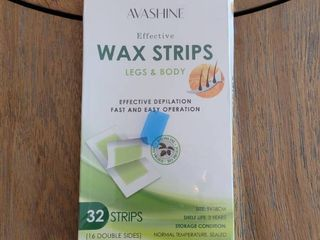 Avashine Wax Strips for Arms  legs  Underarm Hair  Eyebrow  Bikini  and Brazilian Hair Removal Contains 32 Strips
