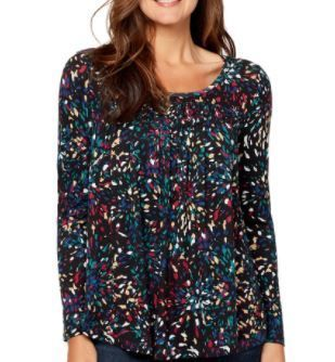 Nine West Jeans long Sleeve Dazzling Speckled Print Top