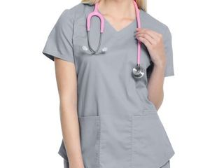 Scrubstar Women s Core Essentials V Neck Scrub Top with Rounded Hem