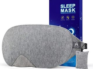 Mavogel Cotton Sleep Eye Mask   Updated Design light Blocking Sleep Mask  Soft and Comfortable Night Eye Mask for Men Women  Eye Blinder for Travel Sleeping Shift Work  Includes Travel Pouch  Grey