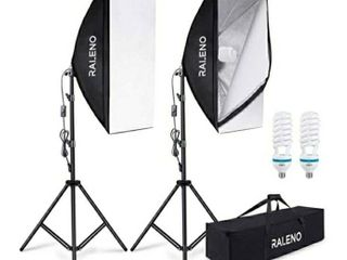 RAlENO 800W Softbox Photography lighting Kit 2X20X28 inch Professional Photography Continuous lighting Equipment No BUlBS