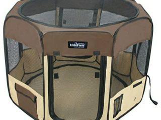 Elitefield 2 door Soft Pet Playpen  62  X 62  X 24 h  Brown beige