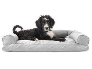 FurHaven Pet Dog Bed Quilted Pillow Sofa Style Couch Pet Bed for Dogs   Cats  Silver Gray  large  Dog not included