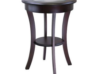 Cassie Round Accent Table with Glass   Cappuccino   Winsome