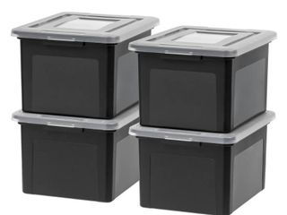 IRIS 4pk Dual Purpose letter And legal Size File Box   Black