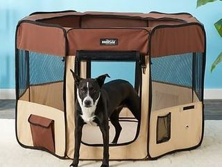 Keeping outdoor pet play place brown